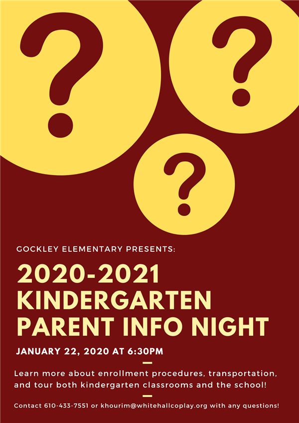 Kindergarten Info. Night: 2020-21